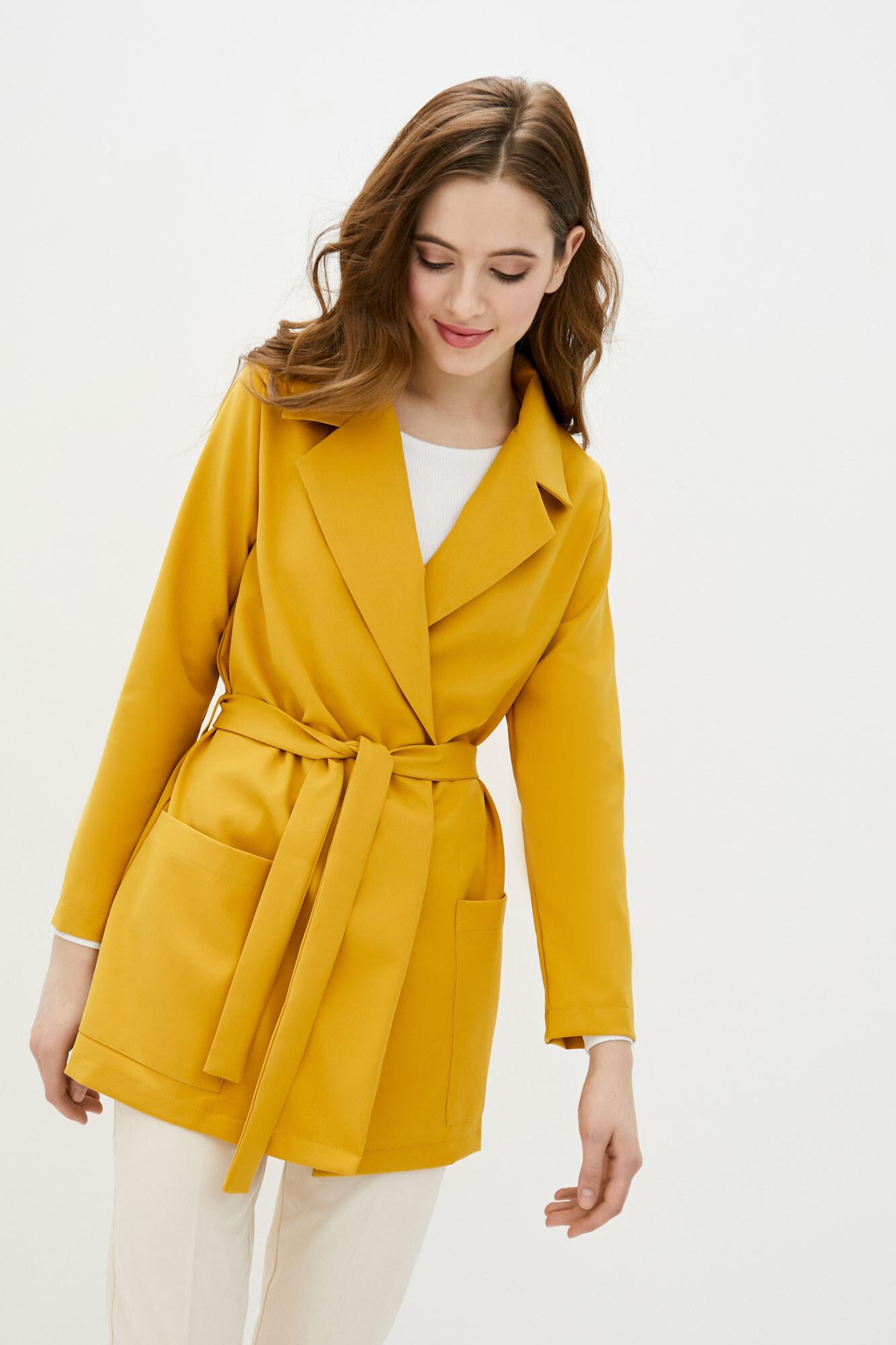 Длинный пиджак без застежек желтого цвета GEN