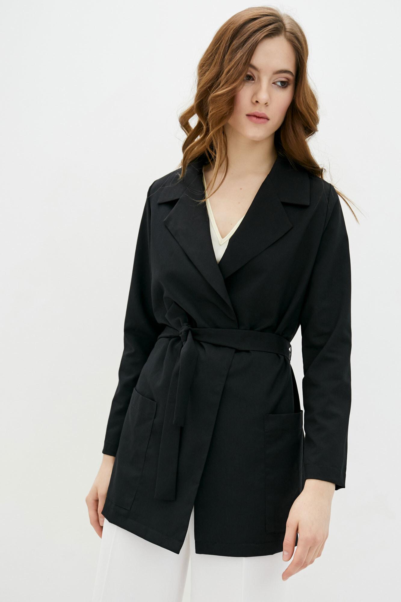 Длинный пиджак без застежек черного цвета GEN