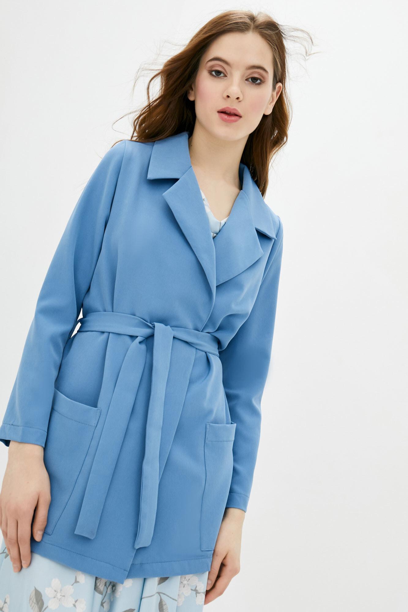 Длинный пиджак без застежек голубого цвета GEN
