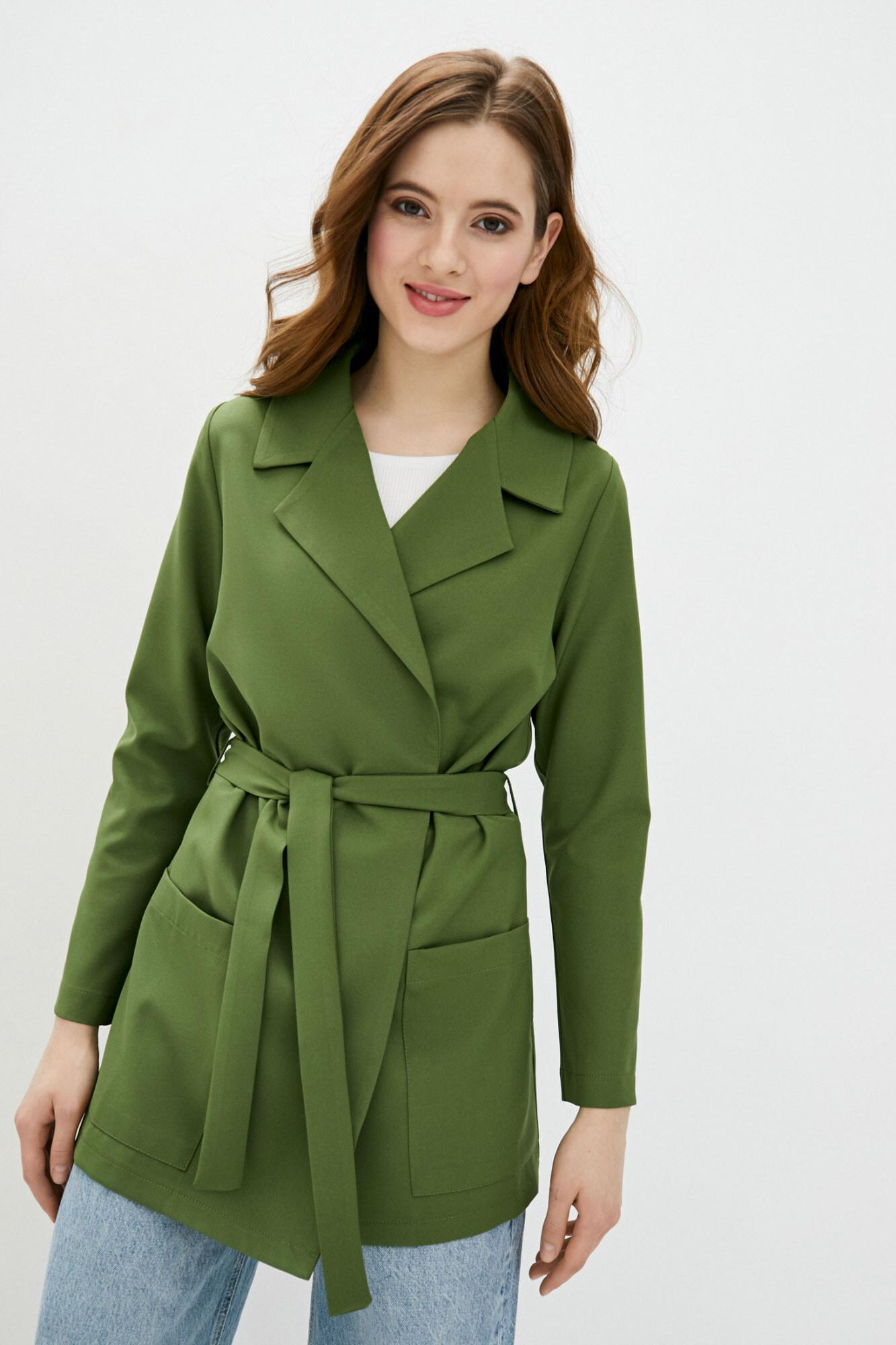Длинный пиджак без застежек зеленого цвета GEN