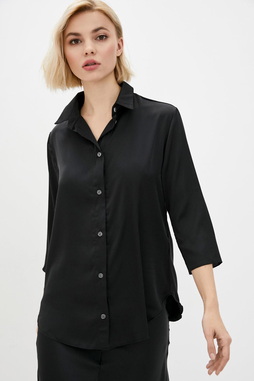 Черная шелковая рубашка с укороченными рукавами GEN