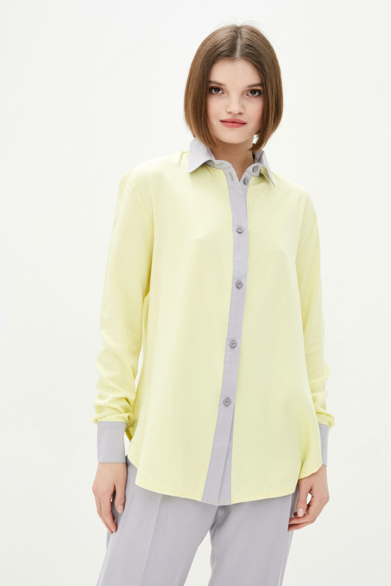 Желтая рубашка оверсайз из штапеля GEN
