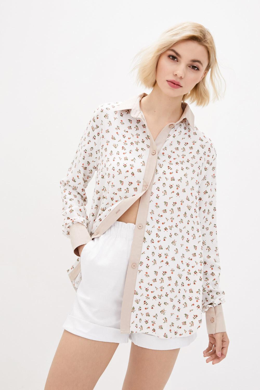 Белая рубашка оверсайз из штапеля в мелкий цветочек GEN