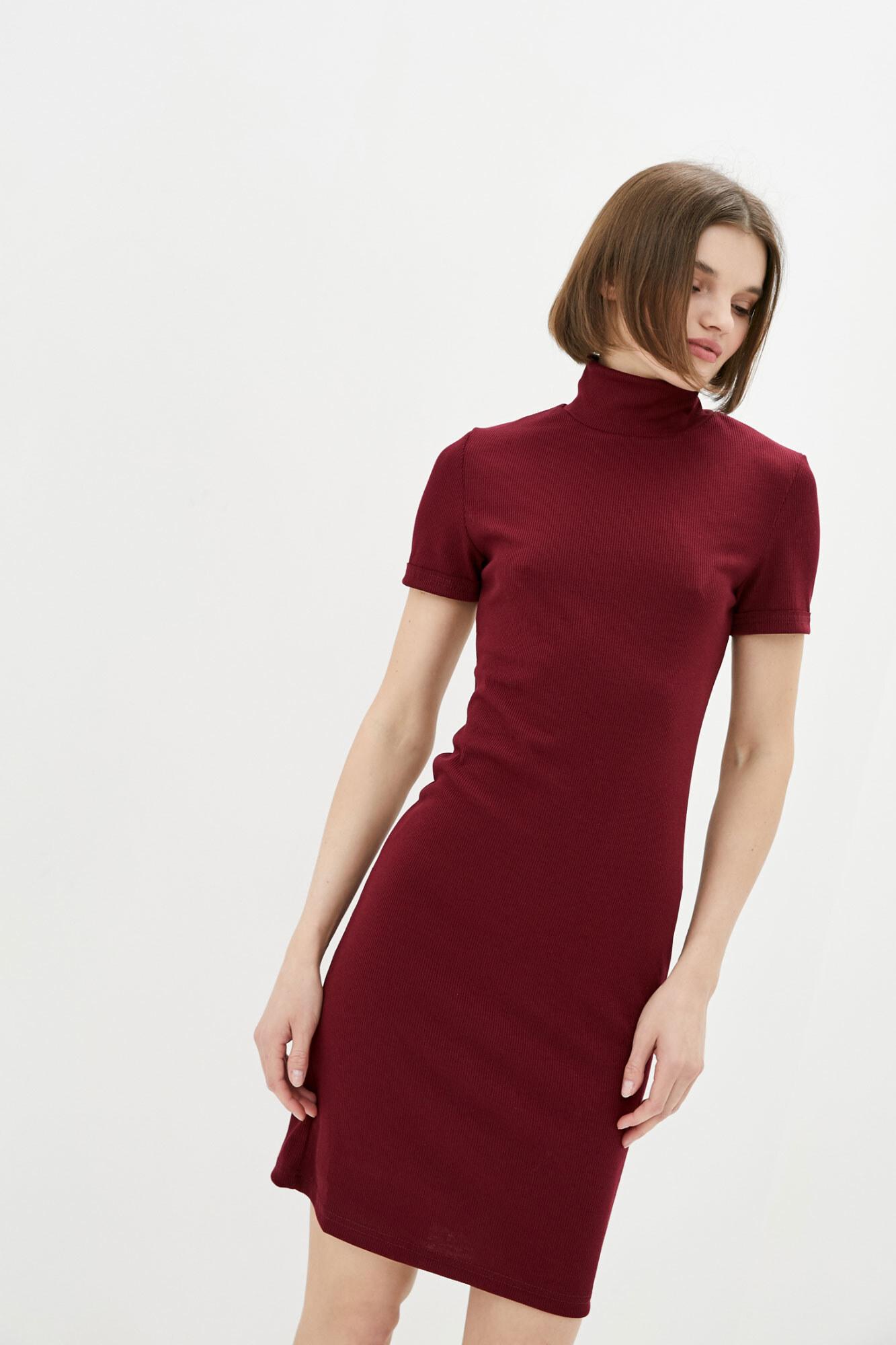 Бордовое мини платье гольф с короткими рукавами GEN