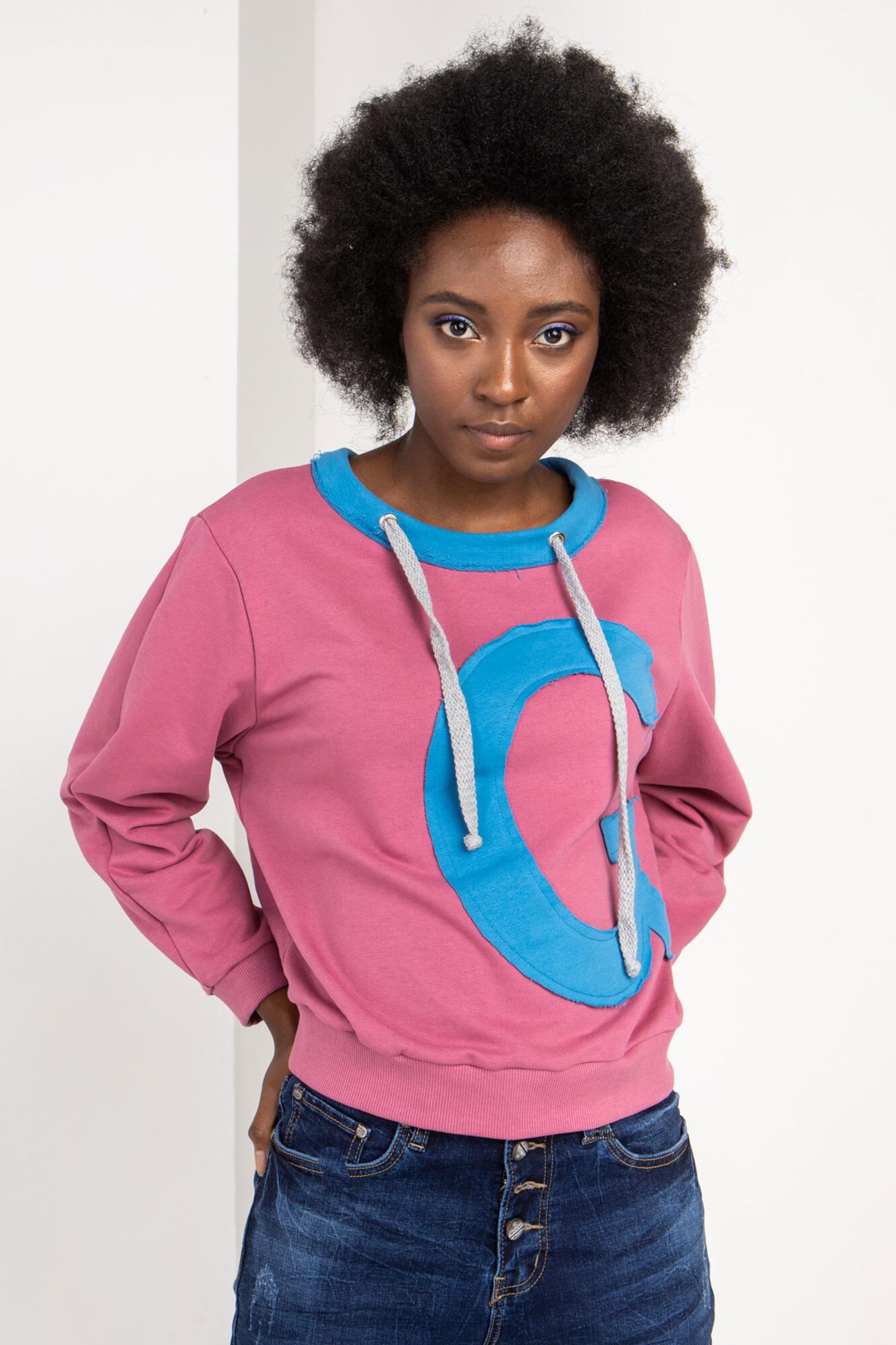 Розовый трикотажный свитер в спортивном стиле со шнурками
