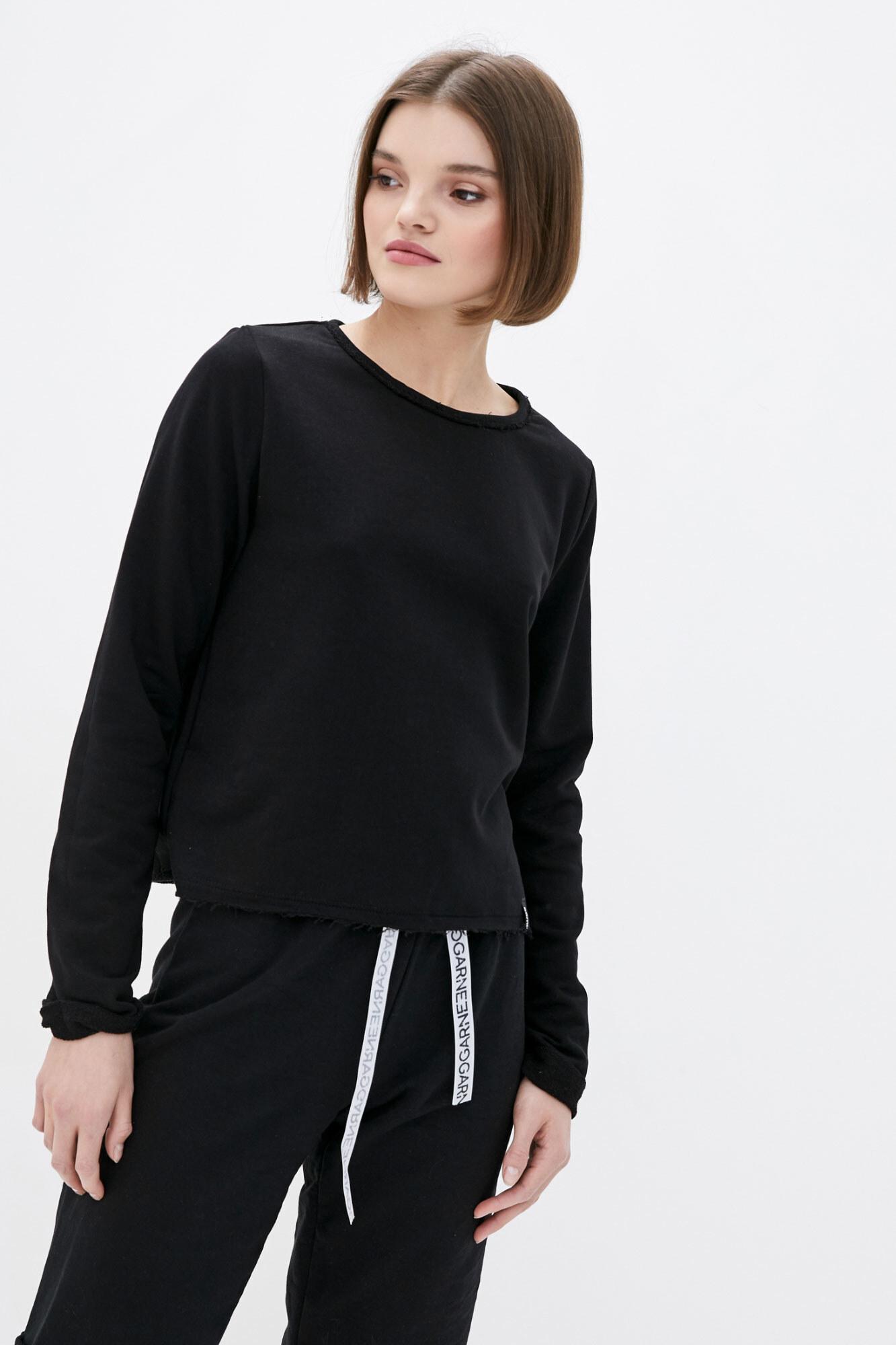 Укороченный спортивный свитшот черного цвета