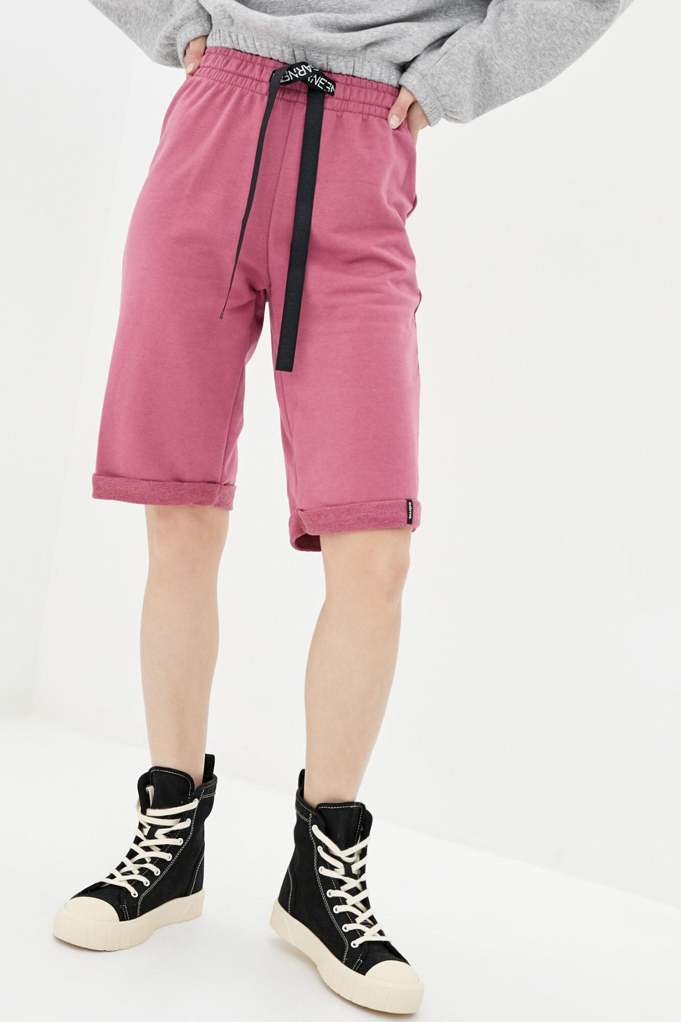 Высокие спортивные шорты розовые с завязками GEN
