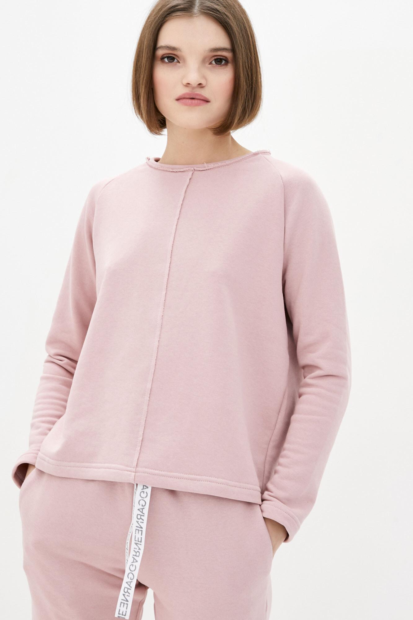 Хлопковый свитшот оверсайз розового цвета GEN