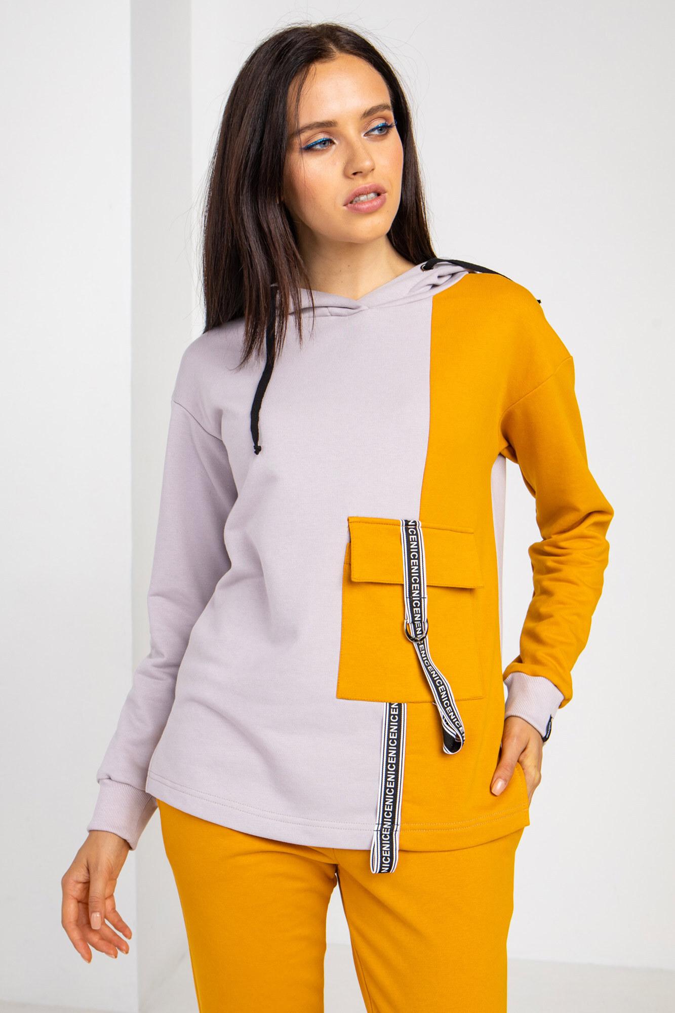 Спортивный трикотажный свитшот REMMA двухцветный с карманом и капюшоном