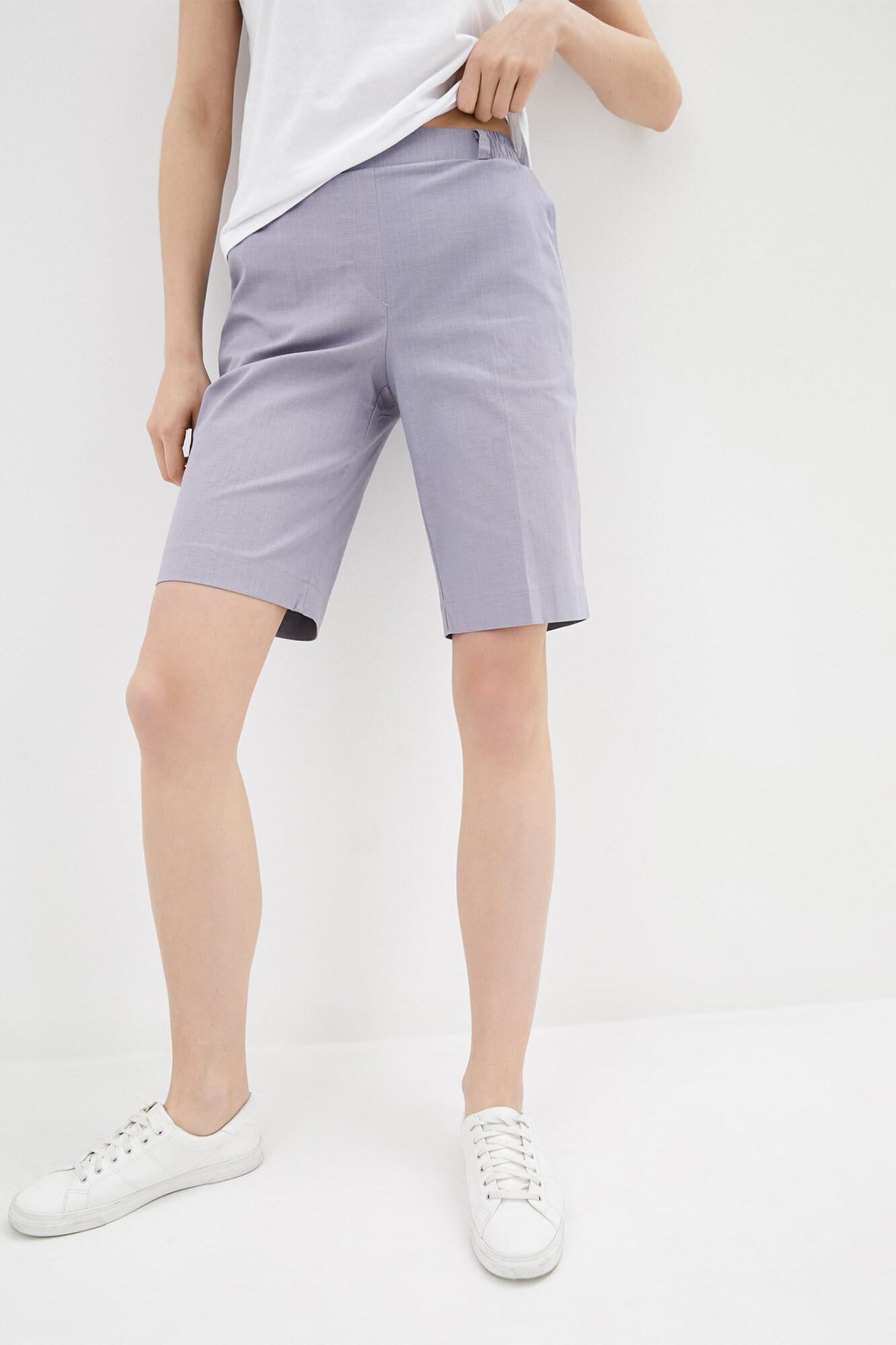 Прямые шорты до колен из серого льна GEN