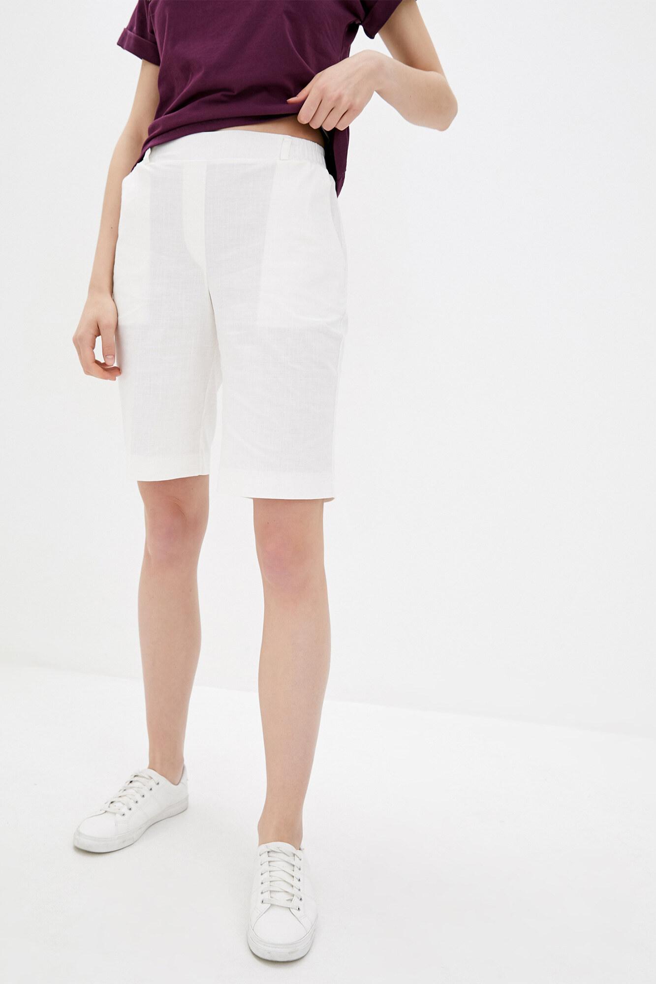 Прямые шорты до колен из белого льна GEN