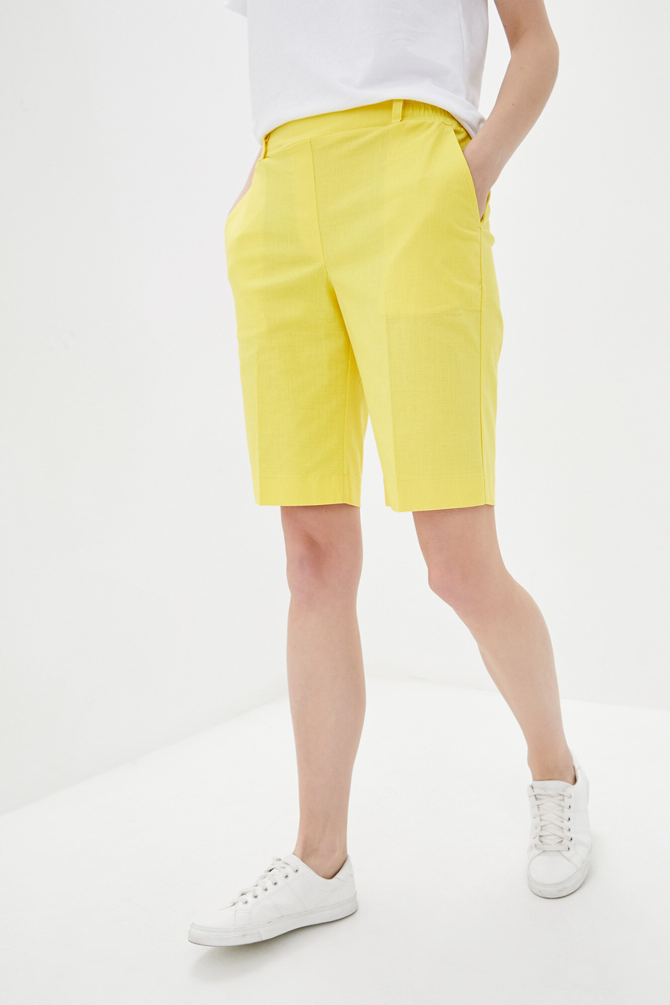 Прямые шорты до колен из желтого льна GEN