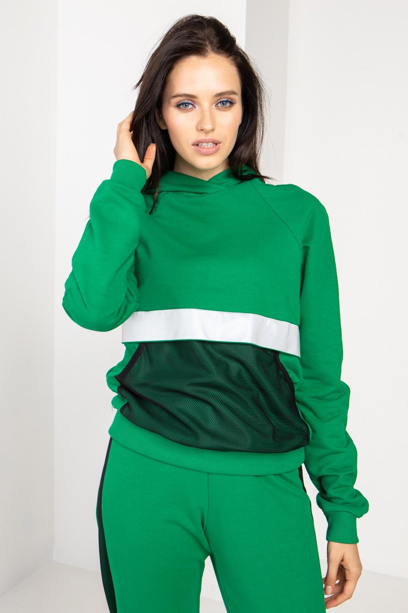 Трикотажный спортивный пусер EDINA зеленого цвета с рефлективом