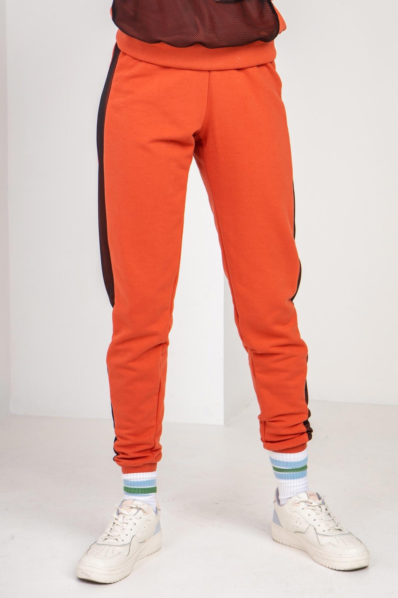 Трикотажные спортивные штаны LATE кирпичного цвета с рефлективом