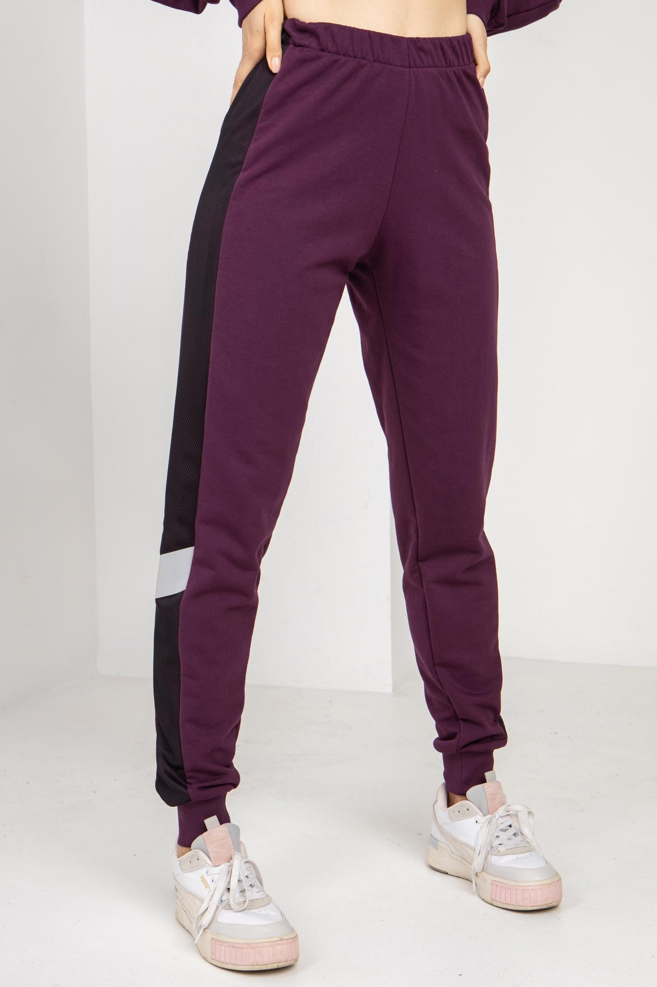 Трикотажные спортивные штаны LATE фиолетовые с рефлективом