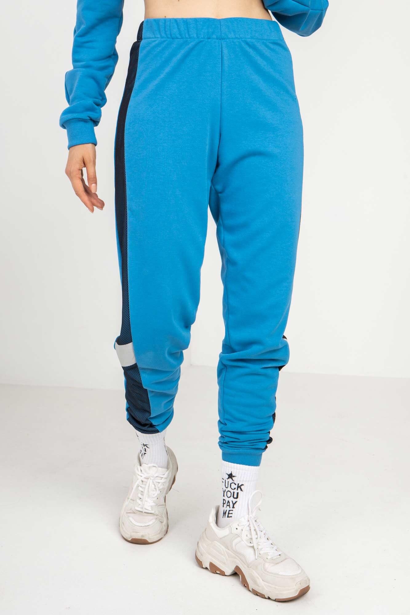Трикотажные спортивные штаны LATE голубые с рефлективом