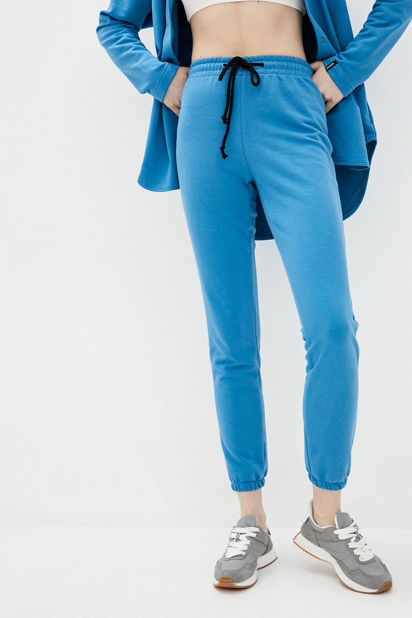 Хлопковые спортивные штаны джоггеры голубого цвета на манжетах GEN
