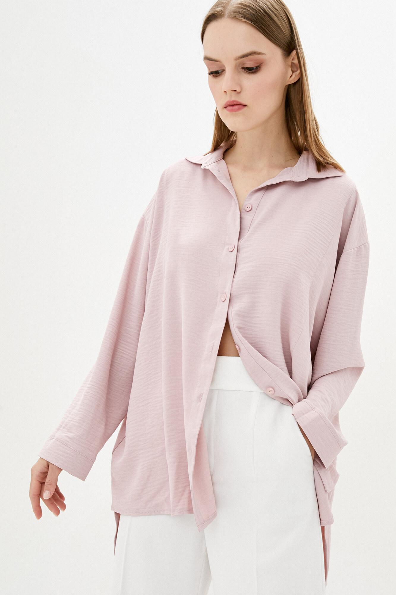 Розовая удлиненная рубашка оверсайз GEN