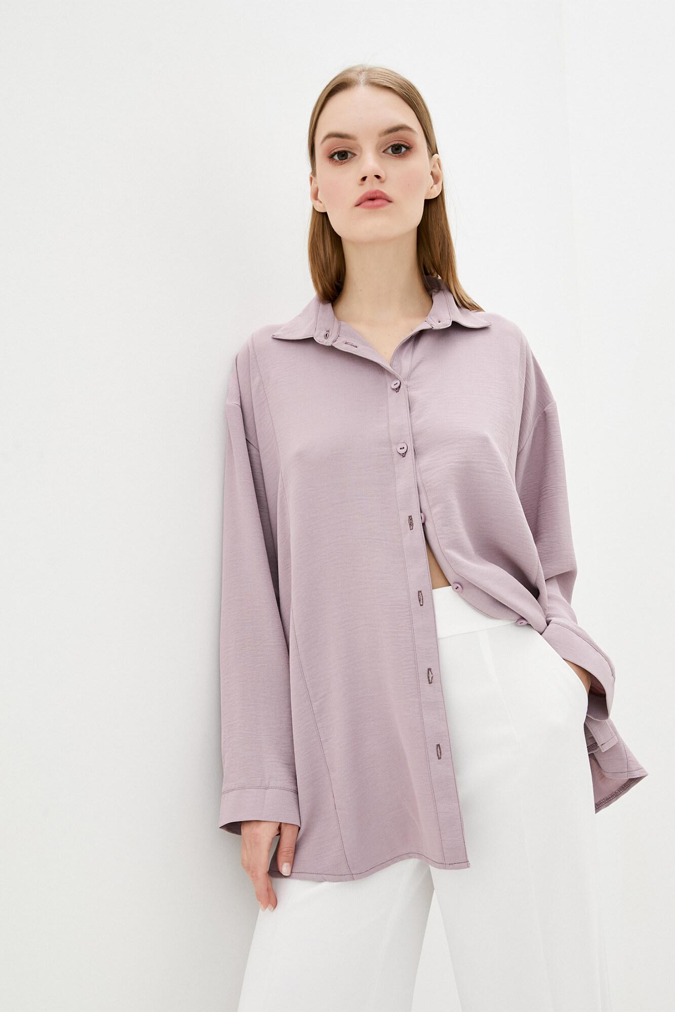 Нюдовая удлиненная рубашка оверсайз GEN