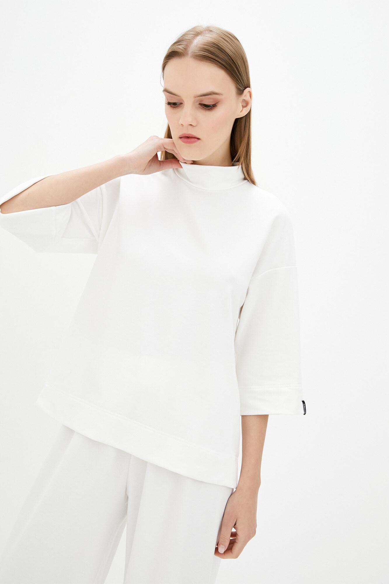 Белая хлопковая кофта оверсайз с укороченными рукавами и плотным горлом GEN