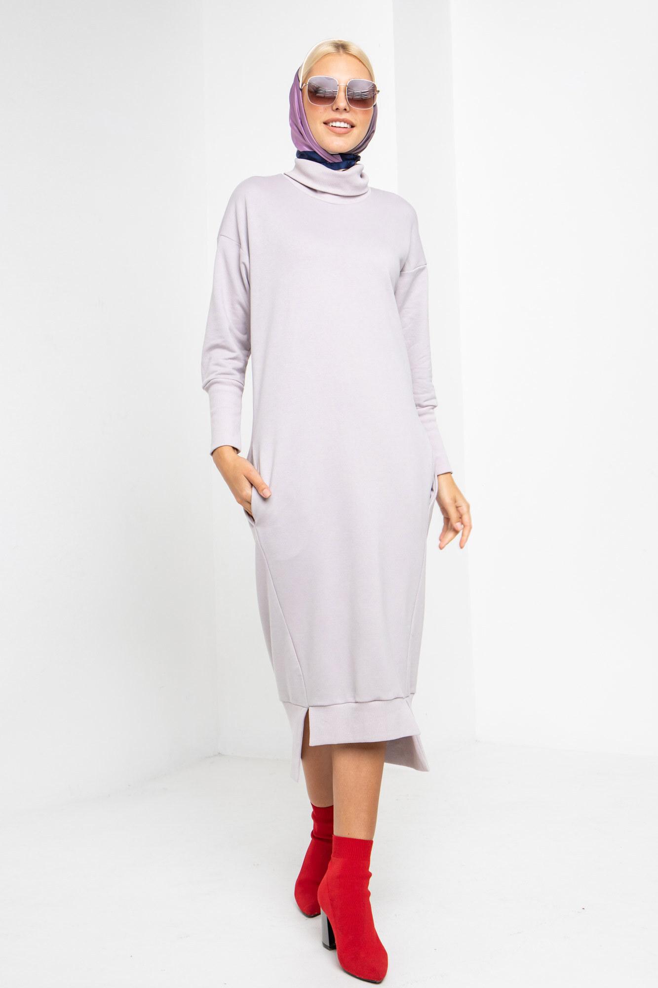 Хлопковое лиловое спортивное платье с асимметрией GEN