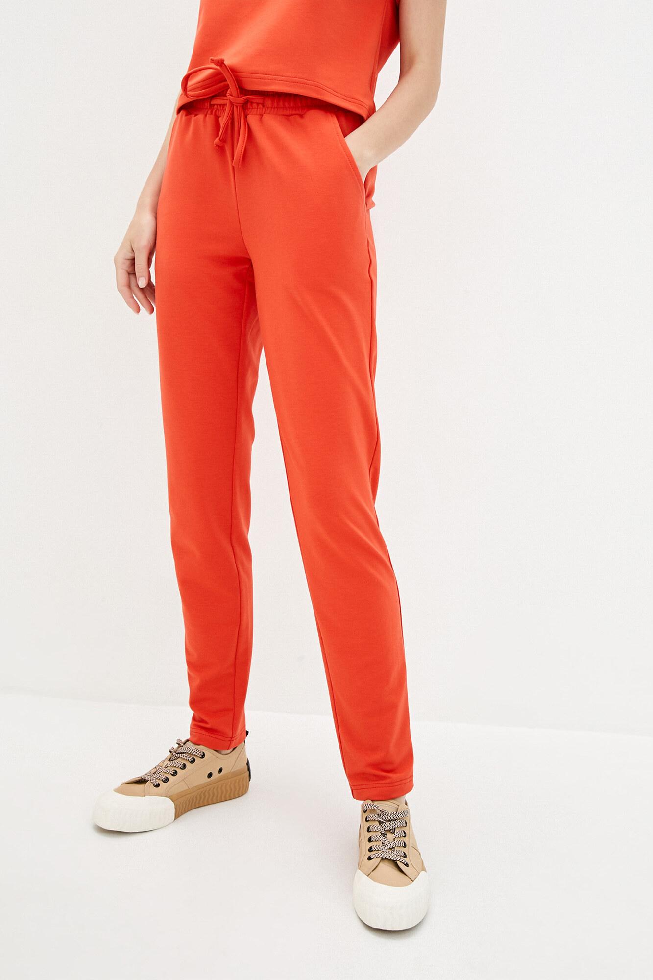 Хлопковые спортивные штаны кирпичного цвета на завязках GEN