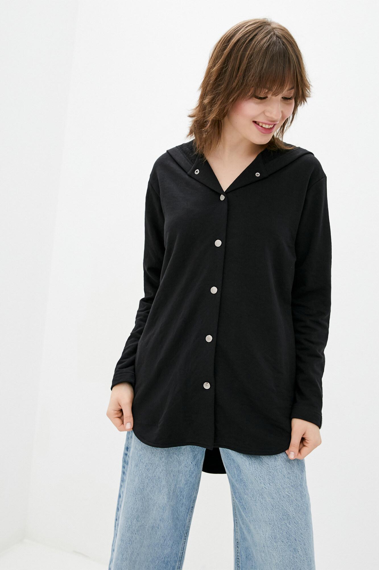 Черная хлопковая рубашка на кнопках с капюшоном GEN