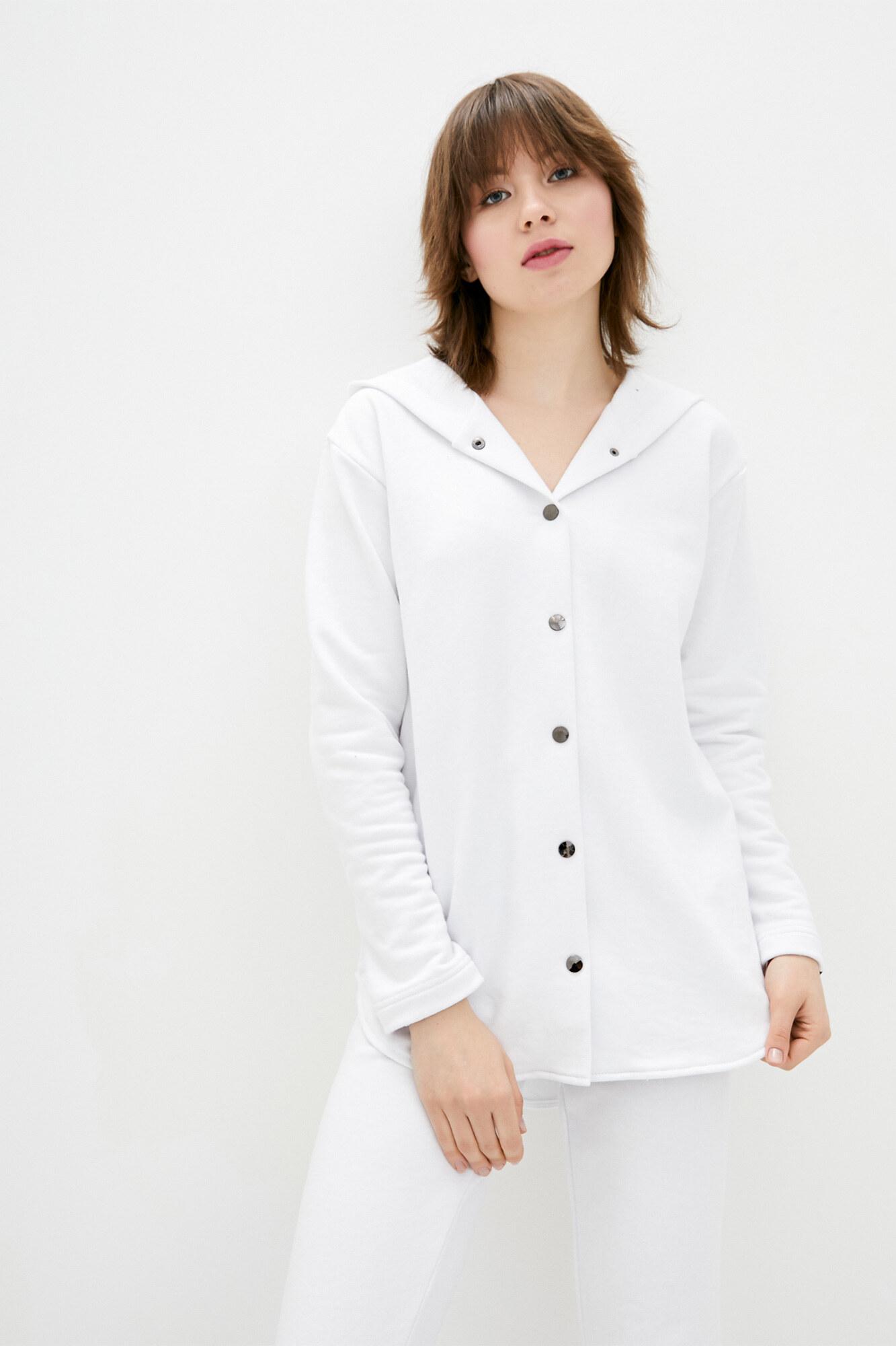 Белая хлопковая рубашка на кнопках с капюшоном GEN