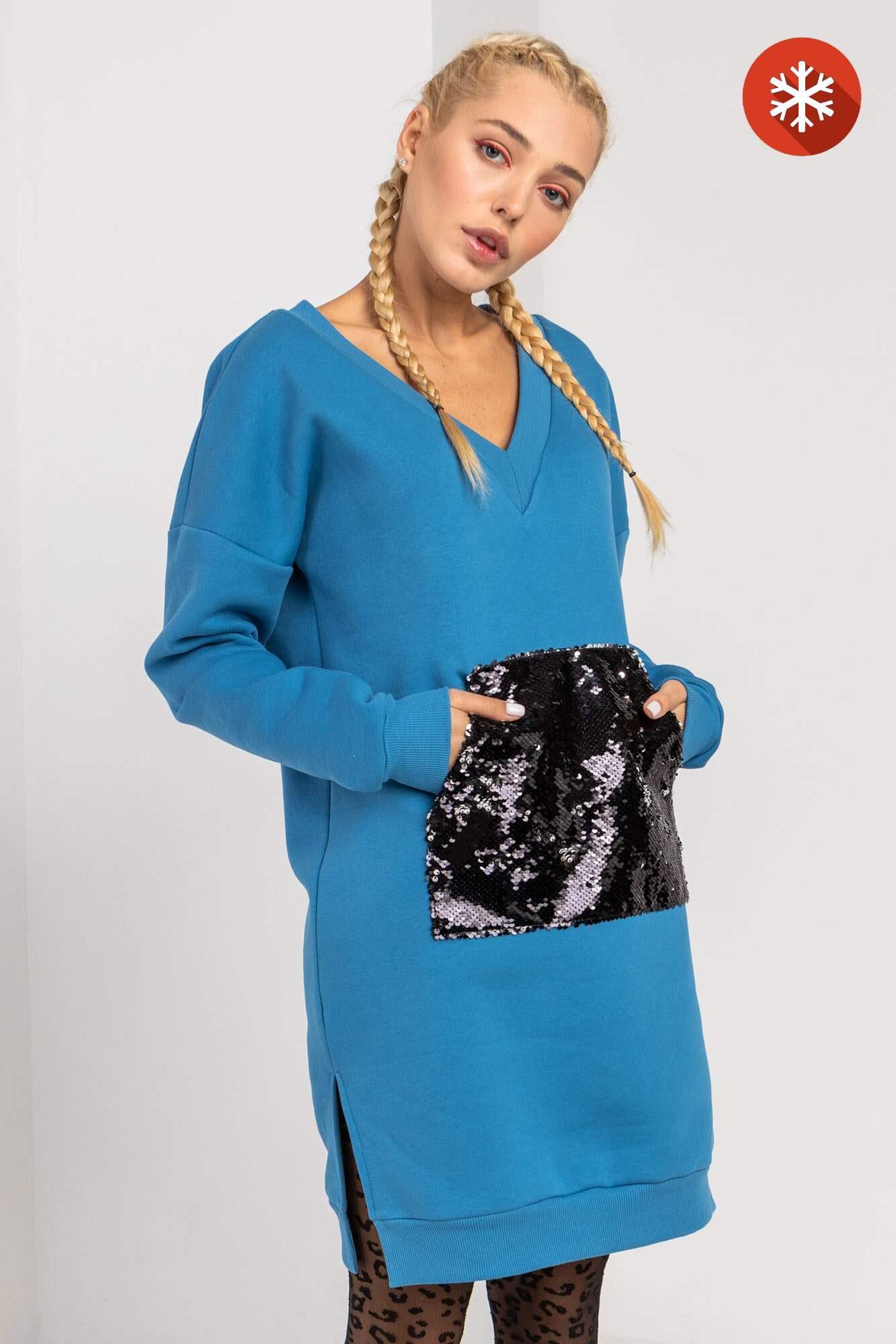 Теплое синее трикотажное платье с начесом и карманом в пайетки GEN