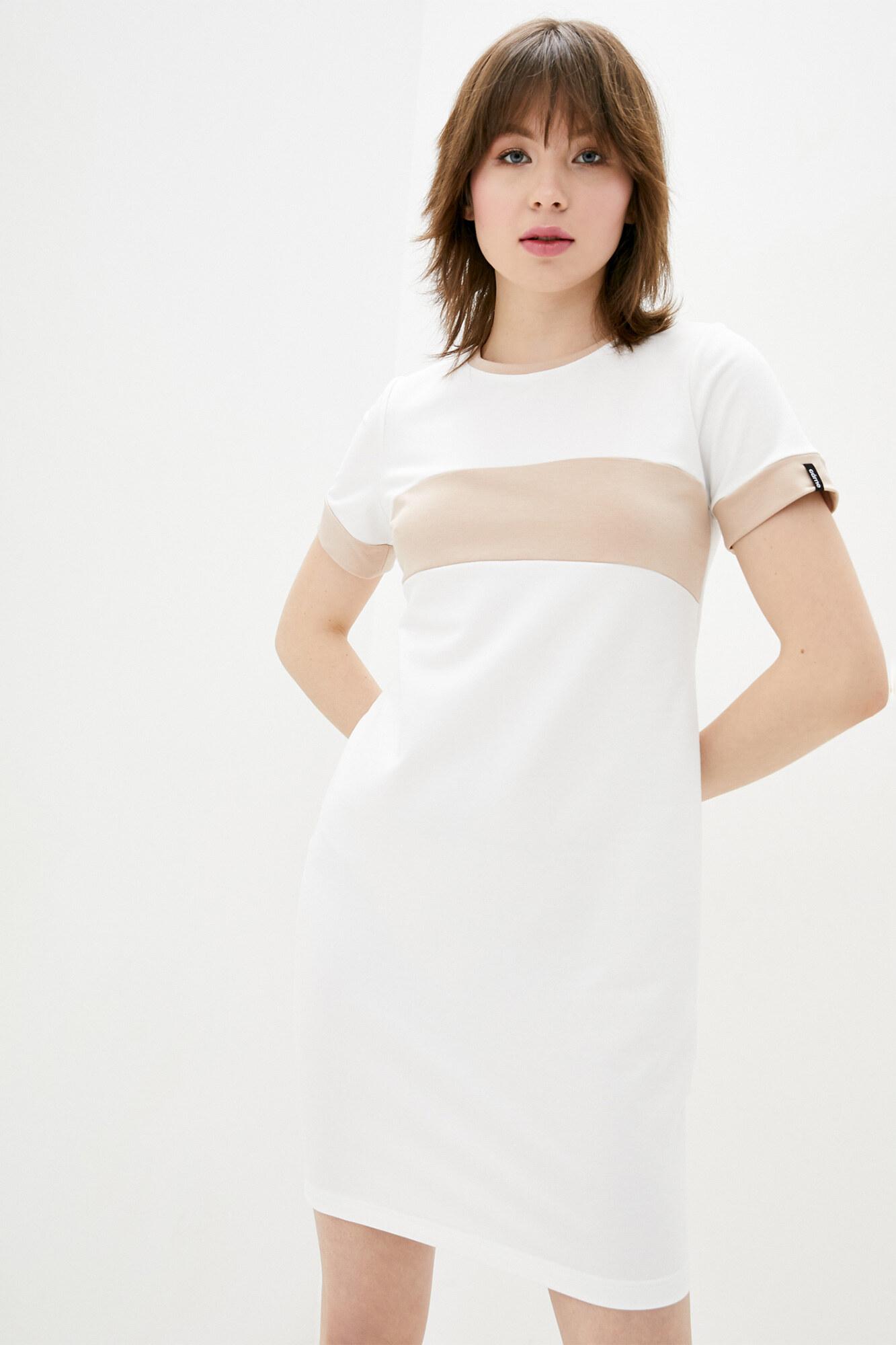 Хлопковое платье белого цвета в спортивном стиле GEN