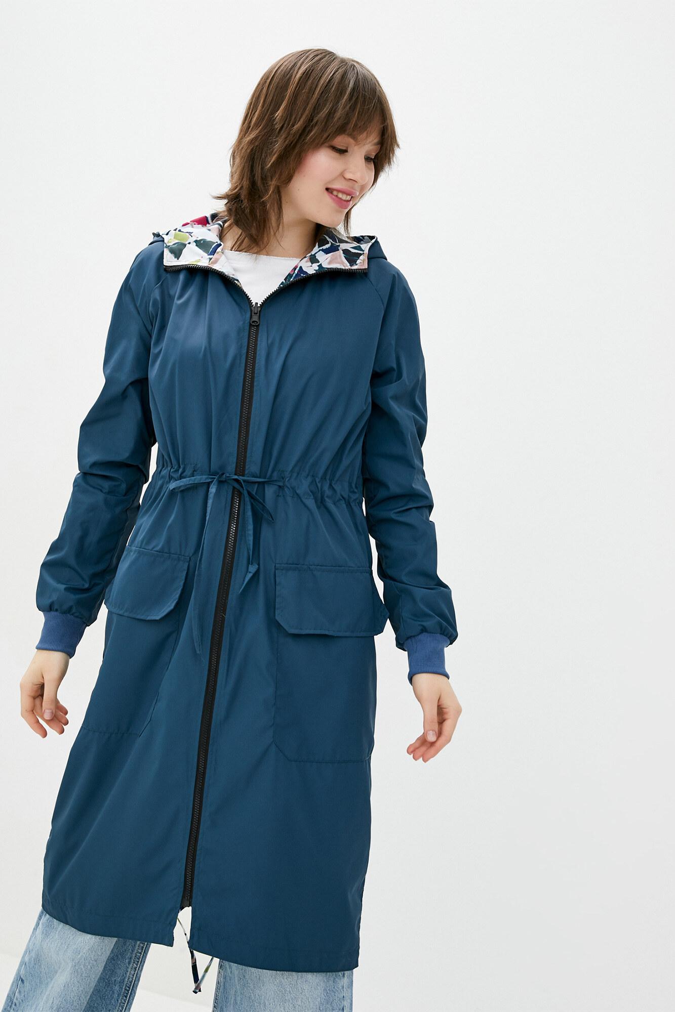 Двухсторонний синий непромокаемый плащ с капюшоном GEN