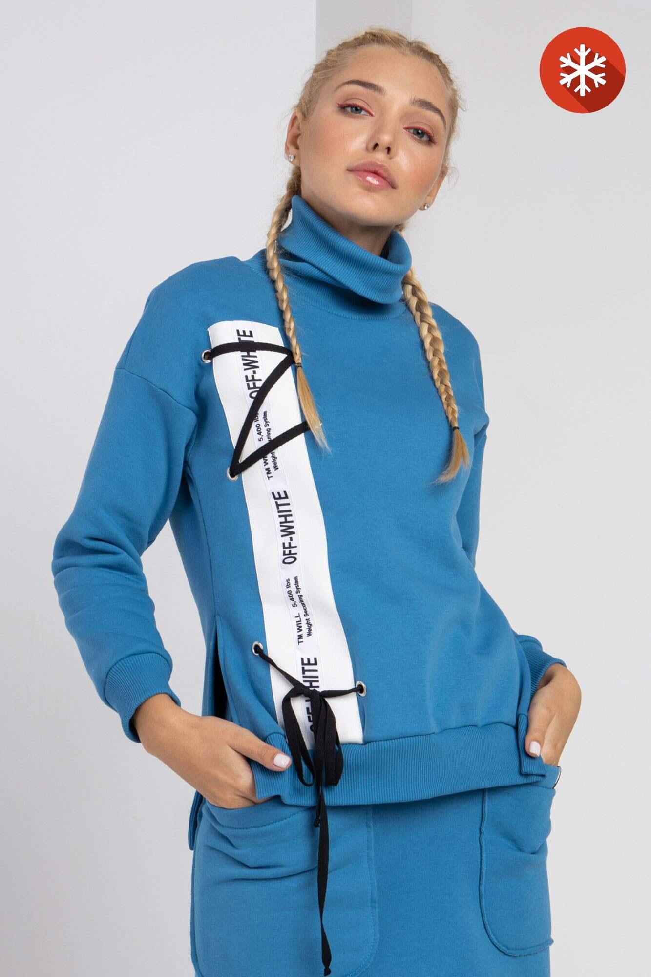 Хлопковый синий спортивный гольф с начесом GEN