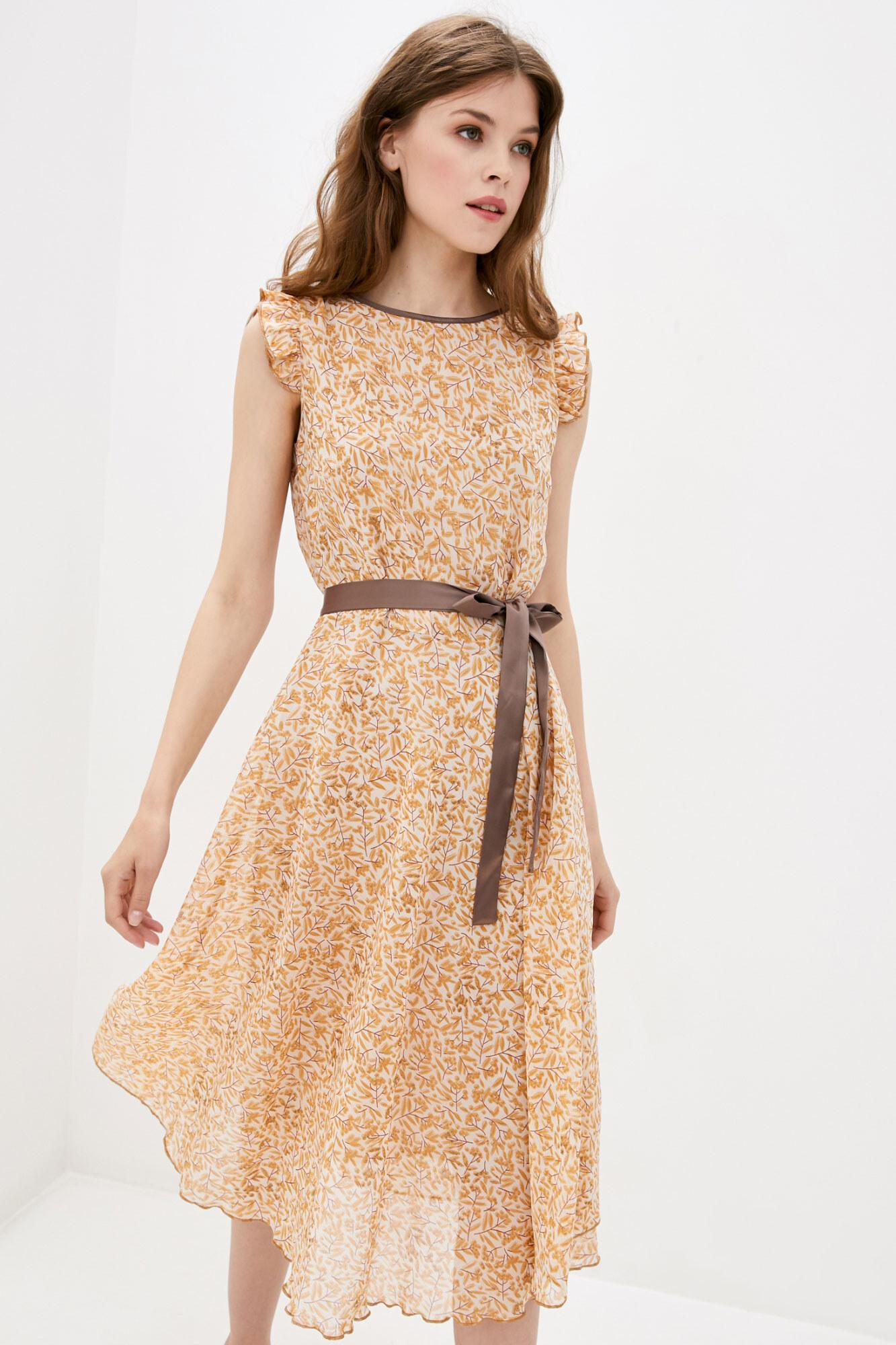 Платье RUBINA  с коричневым поясом GEN